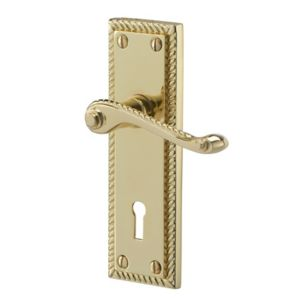 Image of Colours Louga Polished Brass effect Zamac Scroll Lock Door handle (L)92mm Pair