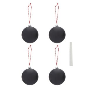 Image of Matt Black Chalkboard Baubles Pack of 4