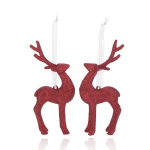Glitter Red 3D Reindeer Decorations  Pack of 2