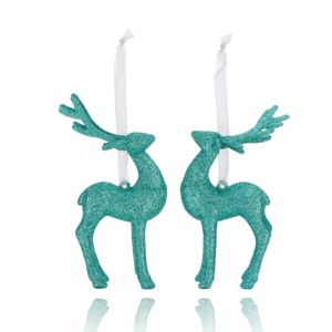 Glitter Mint Green 3D Reindeer Decorations  Pack of 2