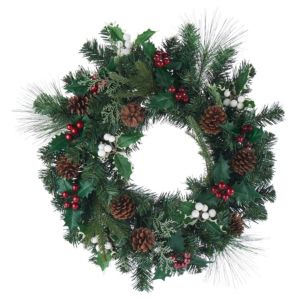 Amden Traditional Green Berry  Holly & Pine Cone Wreath  (D)500mm