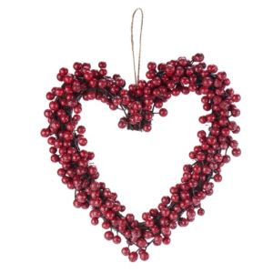 Traditional Red Berry Heart Wreath  (D)300mm
