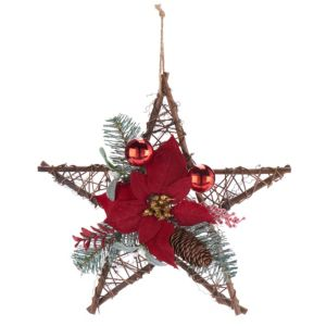 Traditional Brown & Red Star Poinsettia Wreath  (D)350mm