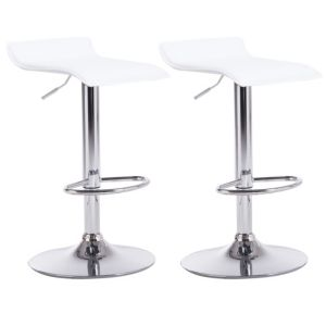 Image of Daphne White & Chrome effect Bar stool (H)850mm (W)450mm Pack of 2