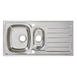 Cooke & Lewis Nakaya 1.5 Bowl Polished Stainless Steel Sink & Drainer