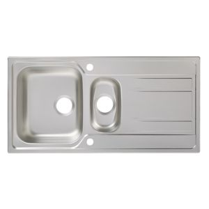 Cooke & Lewis Lyell 1.5 Bowl Linen Finish Stainless Steel Sink & Drainer