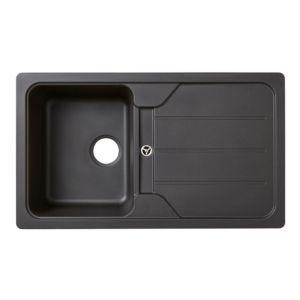 Cooke & Lewis Arber 1 Bowl Black Composite Quartz Sink & Drainer