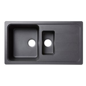 Cooke & Lewis Arber 1.5 Bowl Black Composite Quartz Sink & Drainer
