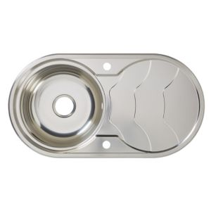 Cooke & Lewis Jemison 1 Bowl Polished Stainless Steel Round Sink & Drainer