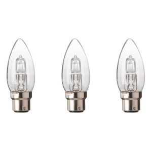 Diall Bayonet Cap (B22) 46W Halogen Candle Light Bulb  Pack of 3