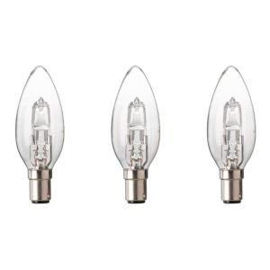 Diall Small Bayonet Cap (B15) 19W Halogen Candle Light Bulb  Pack of 3