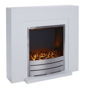 Image of Blyss Beccles White LED Electric Fire Suite