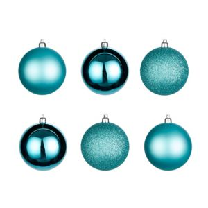 Teal Assorted Baubles  Pack of 6