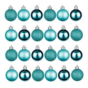 Teal Assorted Baubles  Pack of 24