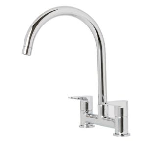 Cooke & Lewis Gordale Chrome effect Kitchen Bridge mixer Mixer tap