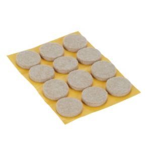 Image of Beige Felt Protection pad (Dia)22mm Pack of 12