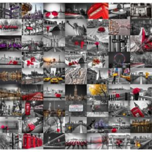 1Wall Black Red & White City 64 Piece Wallpaper Collage