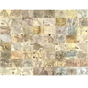 Image of 1Wall Cream World Maps 64 Piece Wallpaper Collage