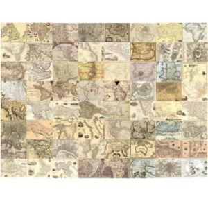 1Wall Cream World Maps 64 Piece Wallpaper Collage