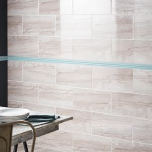 Image of Bali Grey Stone effect Ceramic Wall tile Pack of 8 (L)500mm (W)250mm