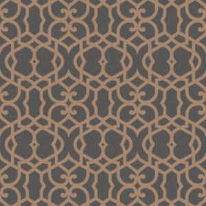 Marrakech Chocolate Fretwork Textured Wallpaper ...