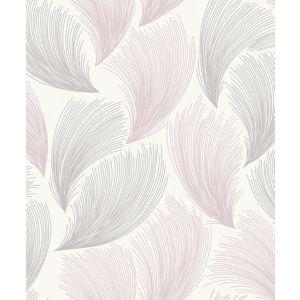 Image of Rasch Grey & pink Feather Glitter effect Wallpaper