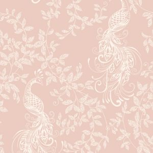 Image of Rasch Blush pink & white Peacock Glitter effect Wallpaper