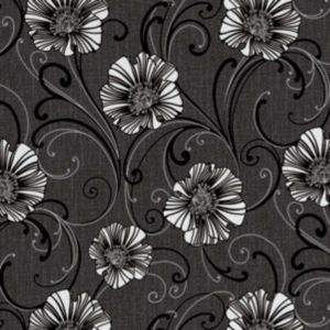 Image of A.S. Creation Liberty Dark Grey & White Floral Wallpaper