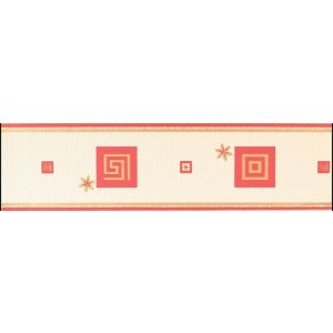 View Living Walls Greek Key Cream & Red Greek Key Border details