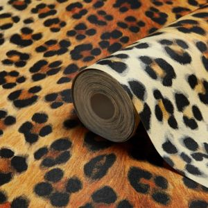 View Leopard Print Orange, Brown & Black Wallpaper details