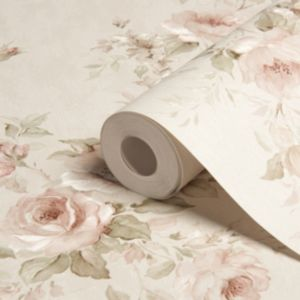 View Romantica Floral Spray Cream & Pink Vinyl Wallpaper details
