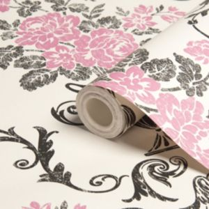 View Beatrice Black & Pink Damask Wallpaper details