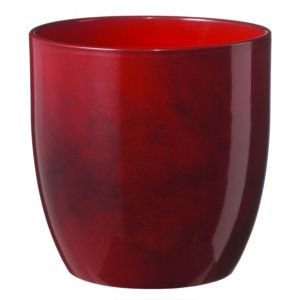 Image of Basel Round Glazed Dark Red Brushed Plant Pot (H)18cm (Dia)19cm