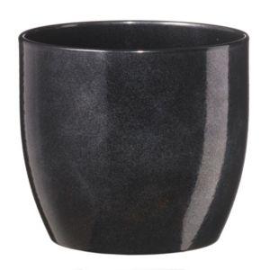 Image of Basel Round Glazed Black Brushed Plant Pot (H)18cm (Dia)19cm