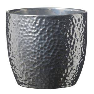 Image of Boston Round Ceramic Silver Effect Plant Pot (H)15cm (Dia)16cm