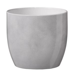 View Basel Round Glazed White Brushed Plant Pot (H)31cm (Dia)31cm details