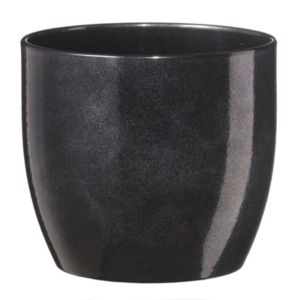 Image of Basel Round Glazed Black Brushed Plant Pot (H)10cm (Dia)12cm