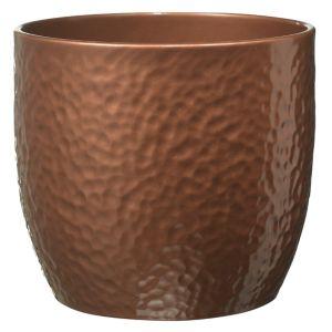 Image of Boston Round Ceramic Copper Effect Plant Pot (H)13cm (Dia)14cm