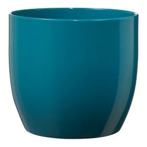 Image of Basel Fashion Round Ceramic Blue Plant Pot (H)13cm (Dia)14cm