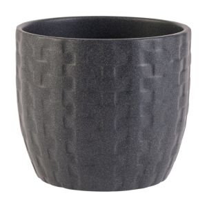 Kiruna Round Ceramic Black Plant Pot (H)120mm (Dia)140mm