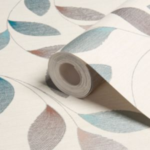 Image of A.S. Creation Adrianna motif Brown cream & turquoise Leaf Wallpaper