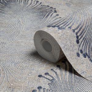 Image of A.S. Creation Bohemian Burlesque Beige & Grey Feather Print Metallic Wallpaper