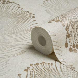Image of A.S. Creation Bohemian Burlesque Gold & Beige Feather Print Metallic Wallpaper