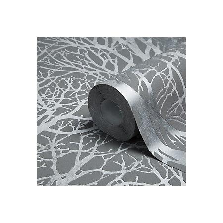 a s creation life grey silver tree metallic wallpaper. Black Bedroom Furniture Sets. Home Design Ideas