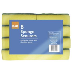 View B&Q Green & Yellow Foam & Scouring Fibre Scourer Sponge, Pack of 8 details