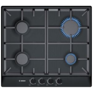View Bosch 4 Burner Black Cast Iron & Stainless Steel Gas Hob details