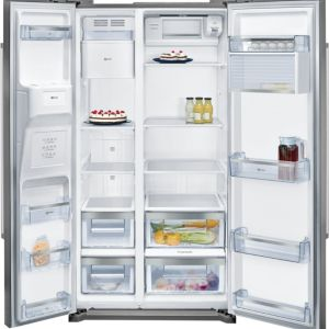 Neff KA3902I20G American style Silver Freestanding Fridge freezer
