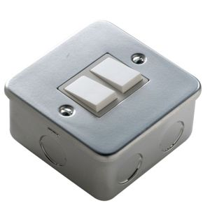 View Marbo 2-Gang 2-Way 6A Silver & White Double Switch details
