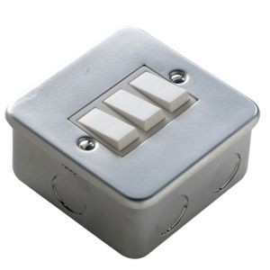 View Marbo Powder Coated Rocker Triple Switch 3-Gang 2-Way SP 6A details