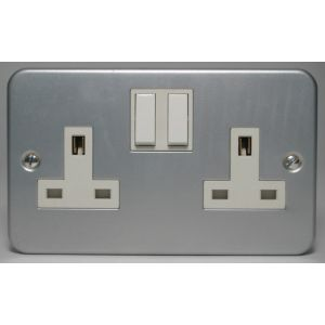 View Marbo 13A 2-Gang Silver & White Switched Socket details